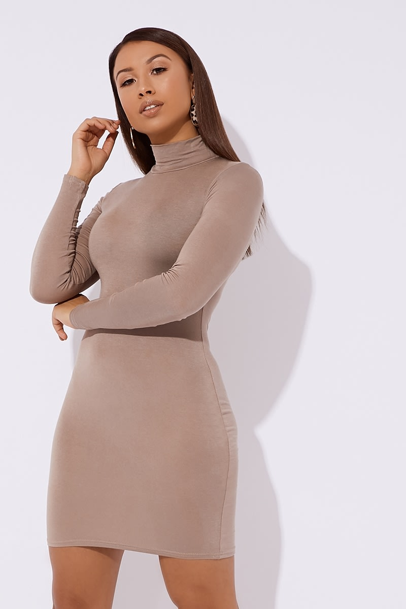 mocha jersey high neck mini dress