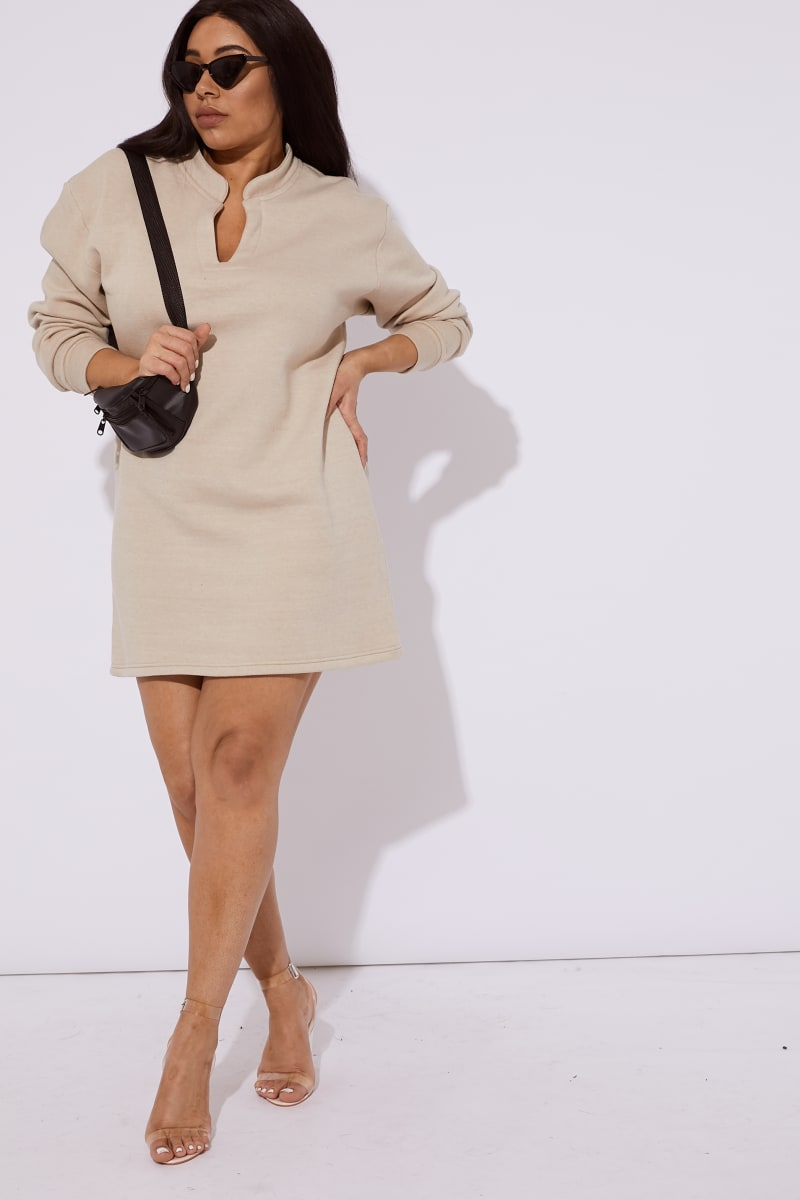 CURVE CALEH CAMEL FLEECE LINED V NECK MINI DRESS