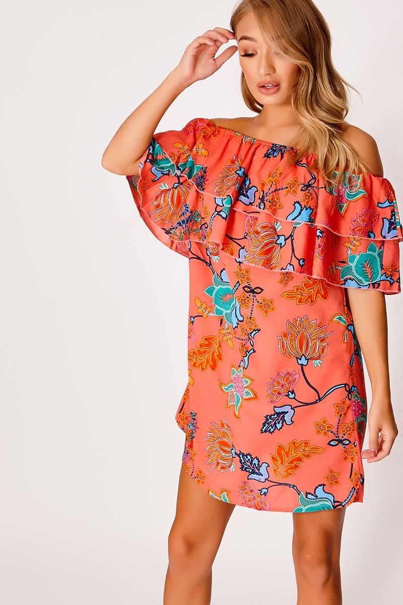 coral paisley floral bardot dress
