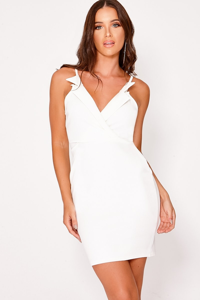 BRIELLA CREAM COLLARED SLEEVELESS DRESS