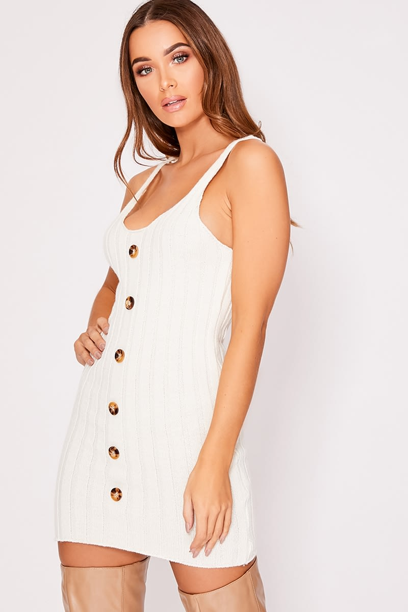 CHRISTIANNA CREAM KNITTED RIB BUTTON DOWN STRAPPY DRESS