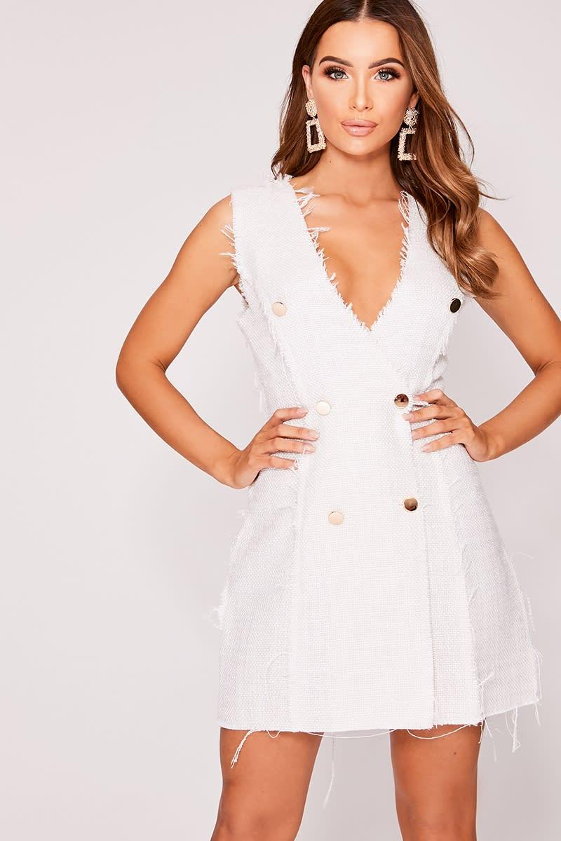 cream sleeveless frayed blazer dress