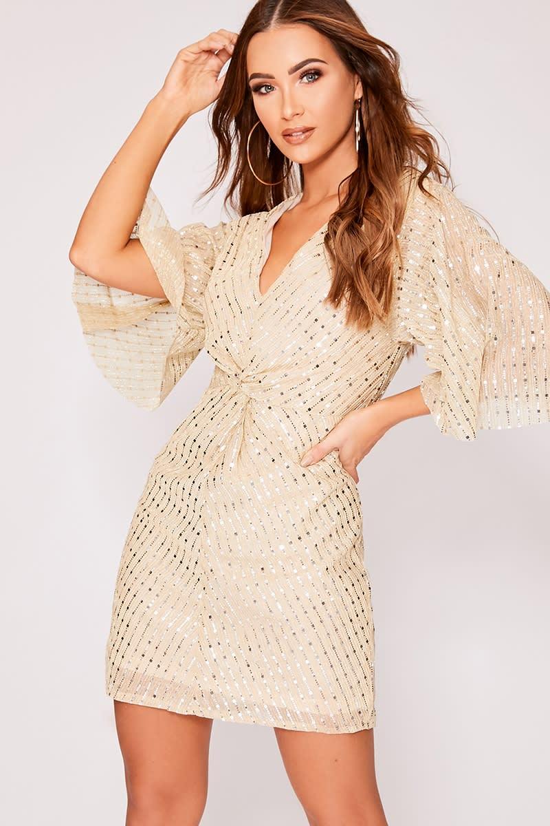 GABIE GOLD GLITTER TWIST FRONT DRESS