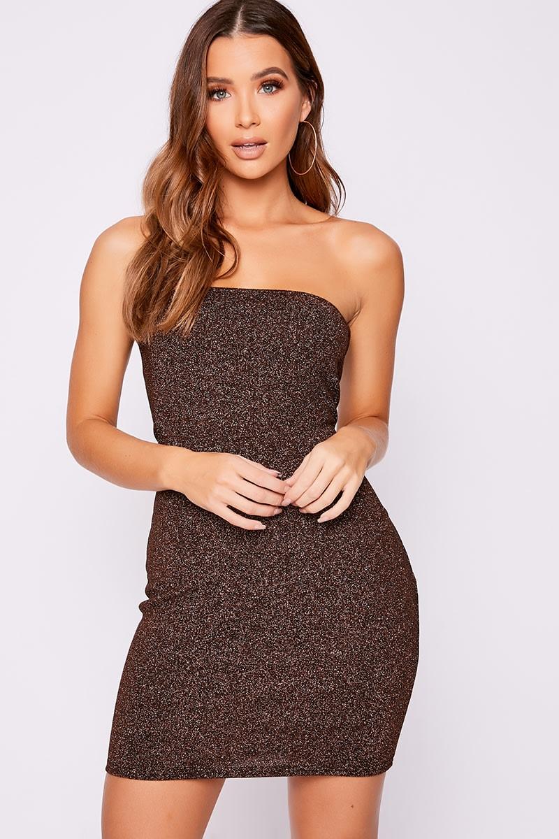 copper glitter bandeau mini dress