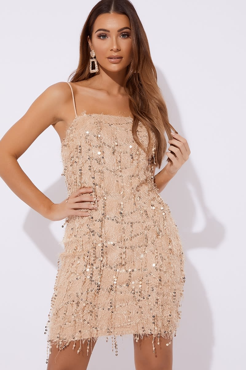 gold sequin fringe square neck mini dress