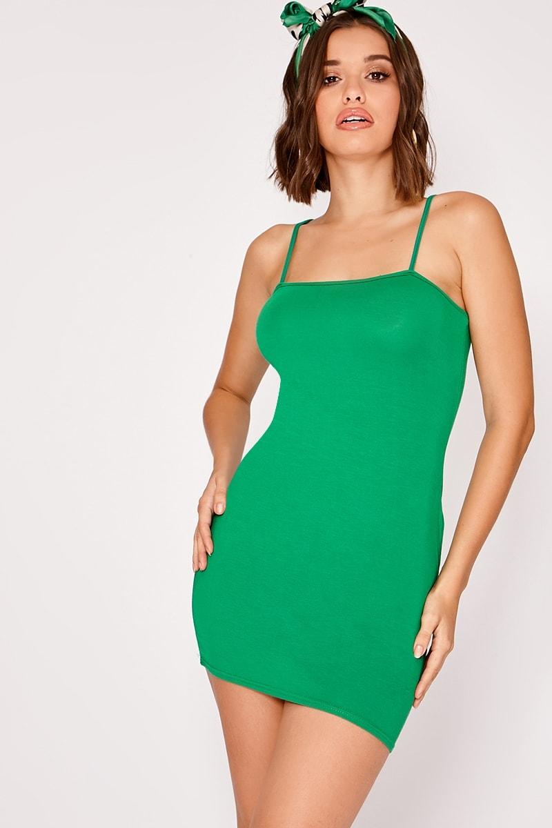 green strappy square neck mini dress