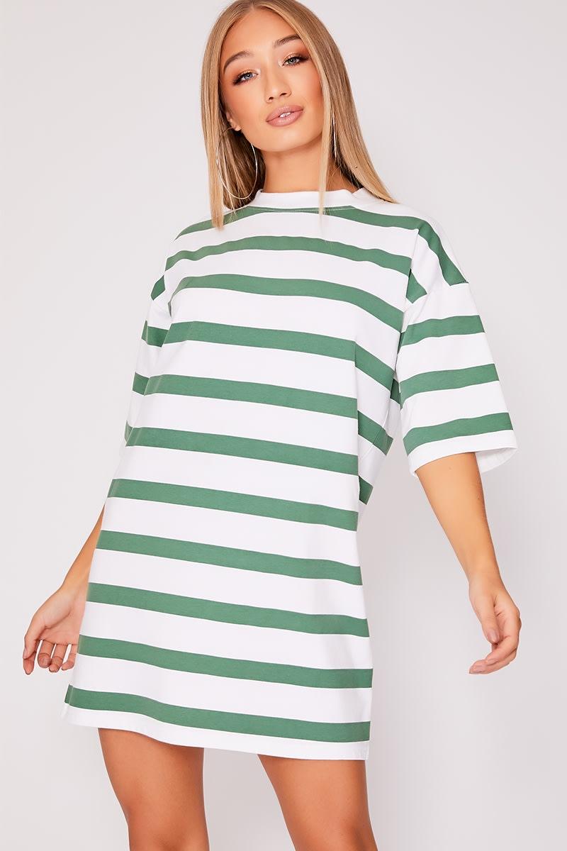 green stripe oversized t shirt dress