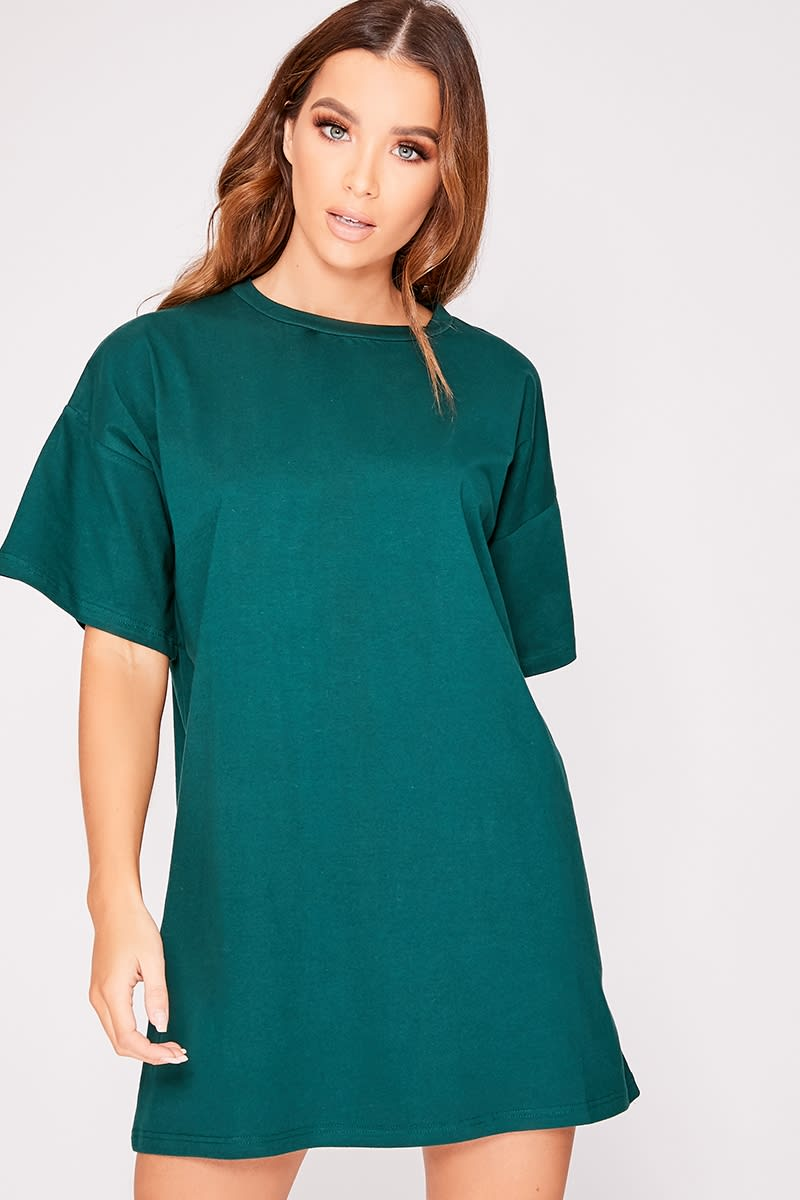 forest green basic t shirt dress