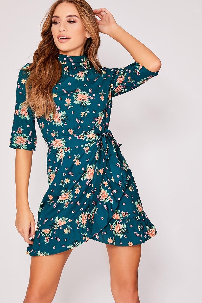 green floral high neck frill dress