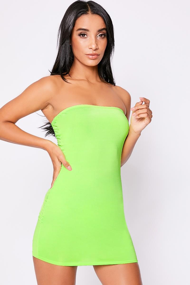 neon lime bandeau mini dress