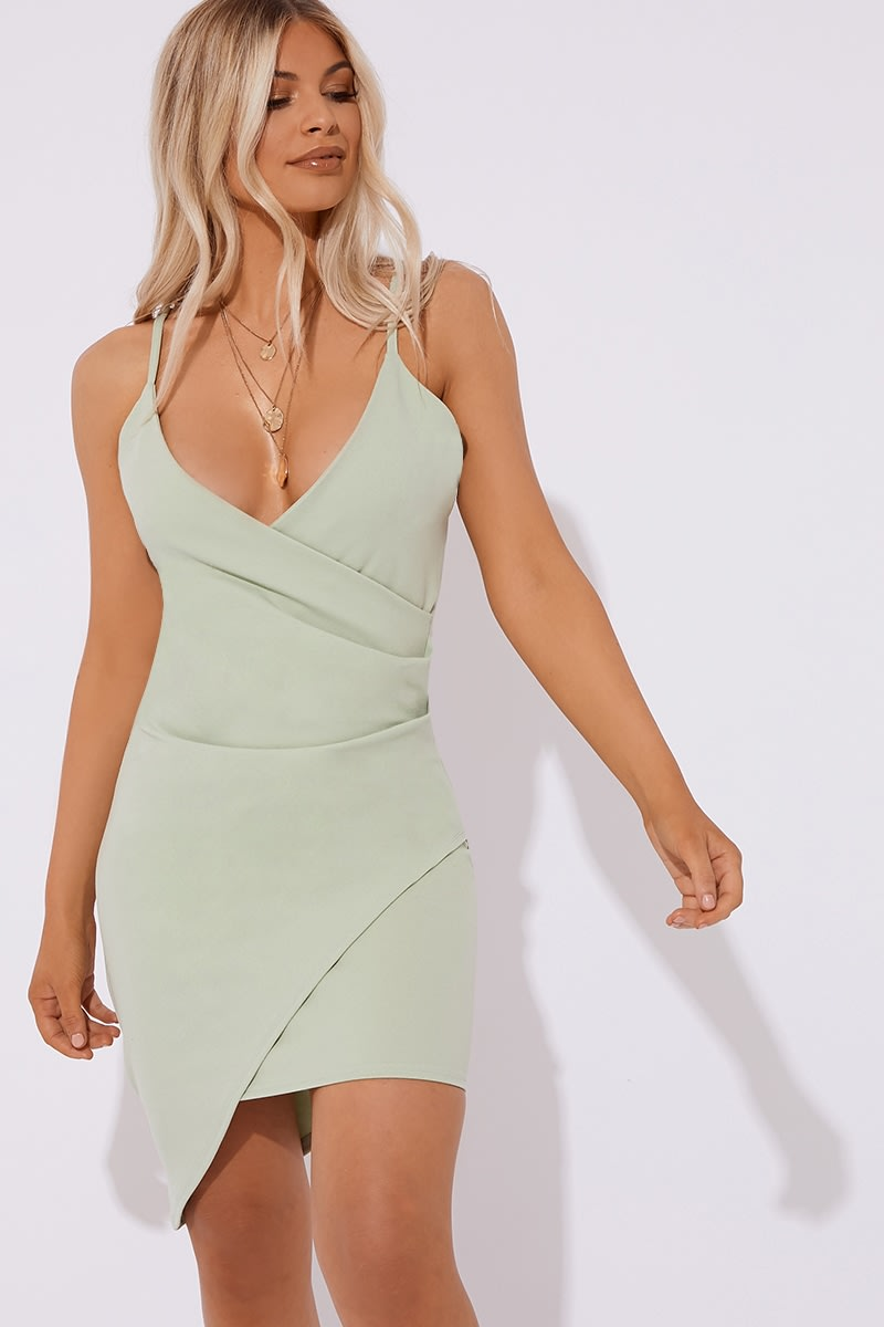 sage green ruched front mini dress