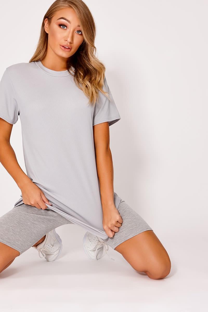 grey ribbed t shirt dress