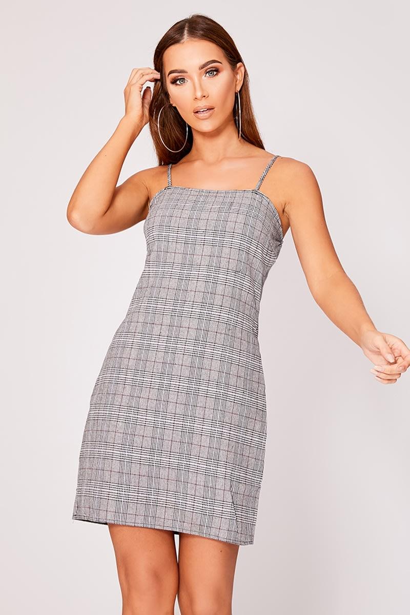 grey check square neck bodycon dress
