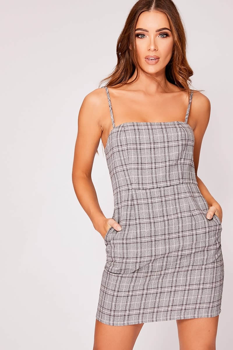 grey check cami dress