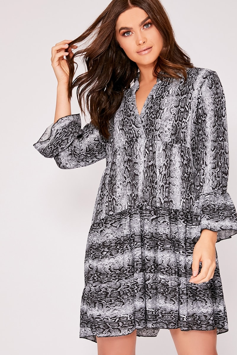 grey snake print smock dress