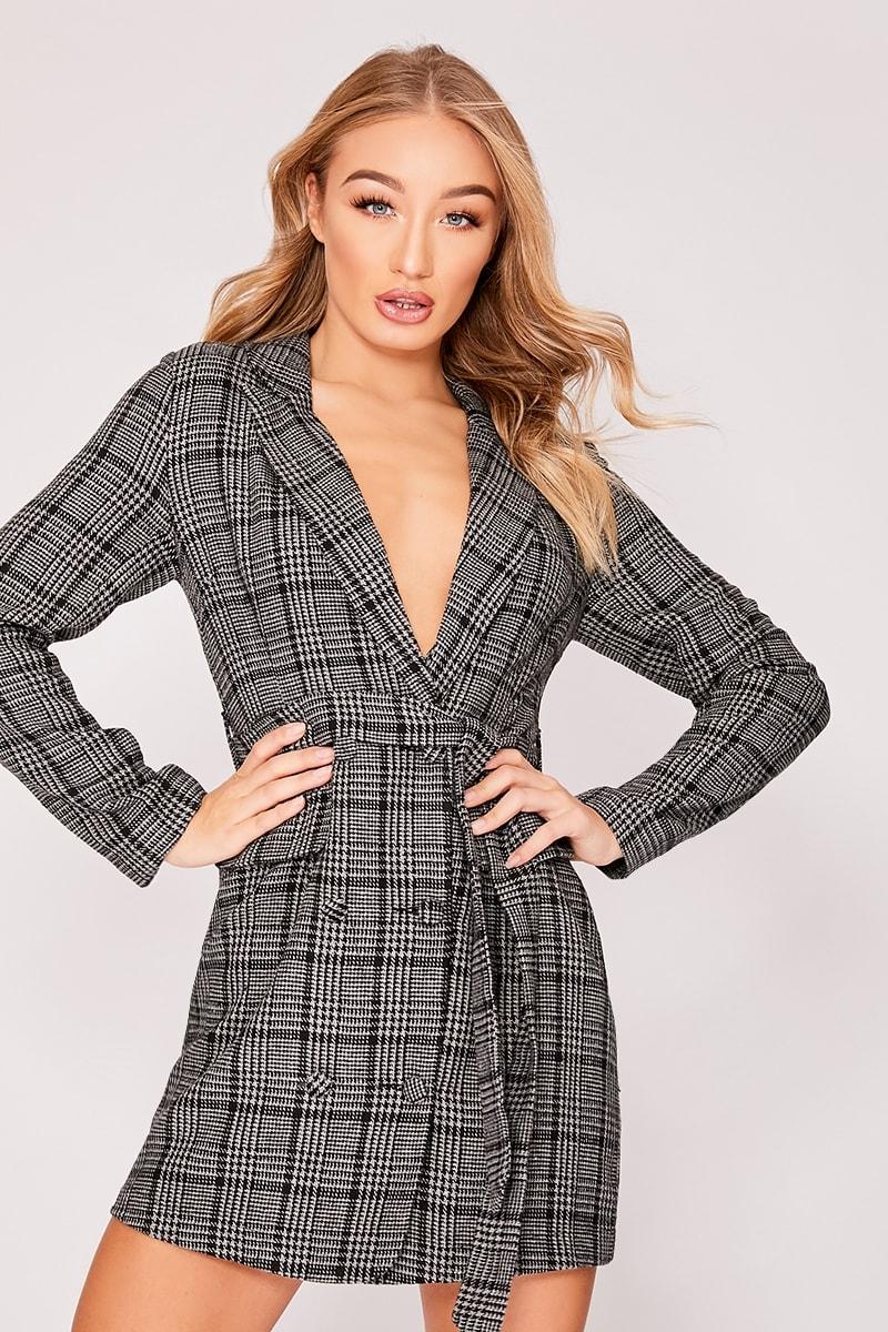 grey checked wool style blazer dress