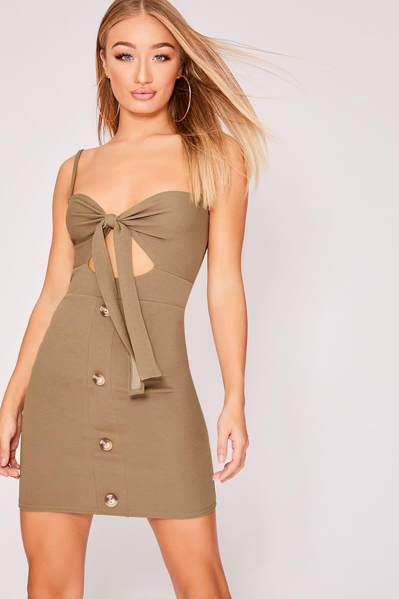 khaki tie front horn button dress
