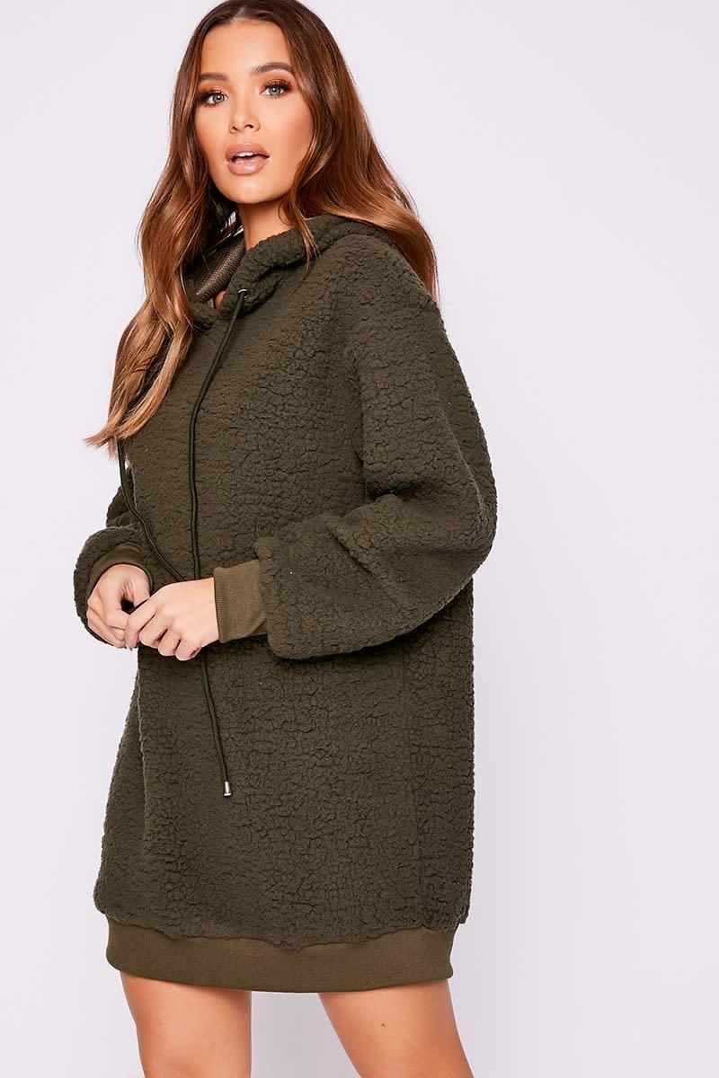 khaki teddy fur hooded jumper dress