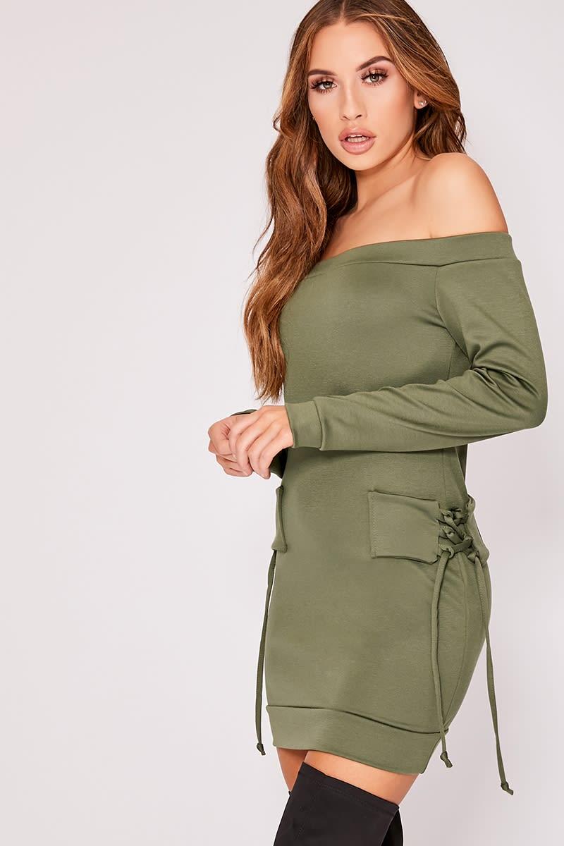 KYLEY KHAKI BARDOT TIE DETAIL SWEATER DRESS