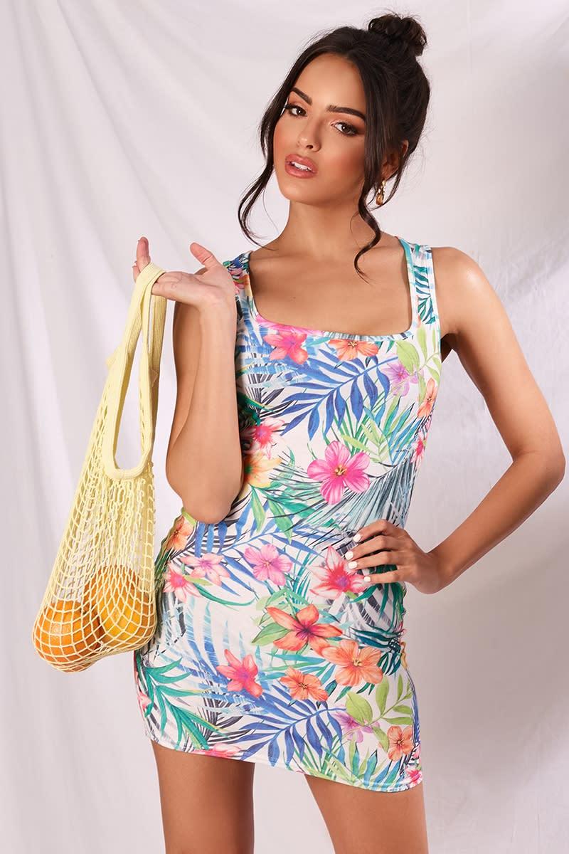 tropical print square neck mini dress