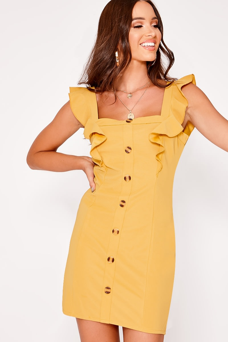 mustard frill button down dress