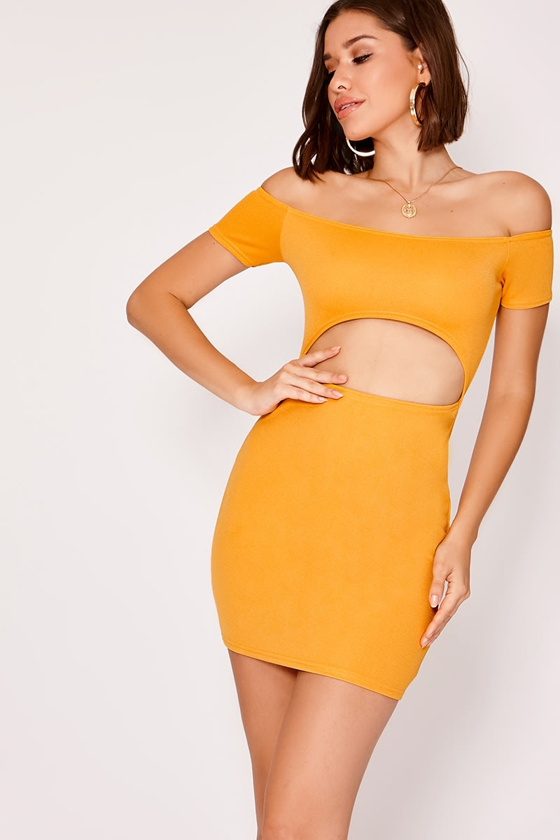 JENNI MUSTARD CREPE UNDERBOOB BARDOT MINI DRESS