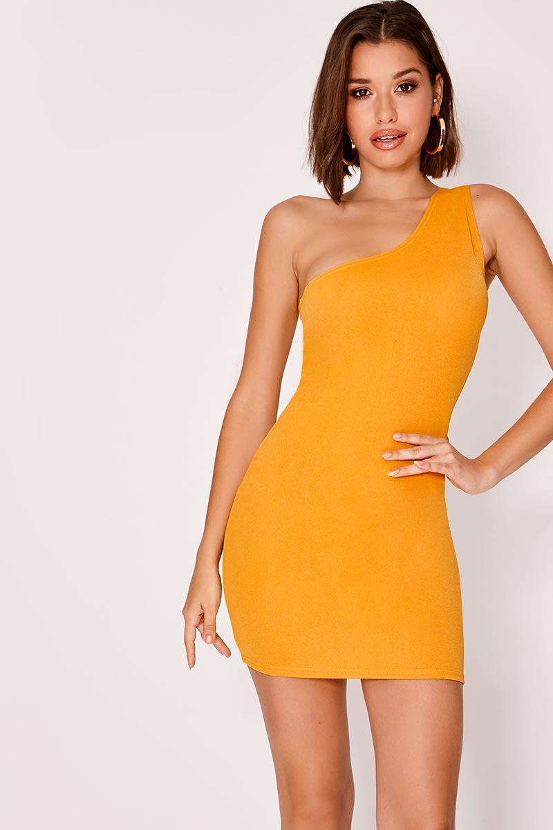 mustard crepe one shoulder mini dress