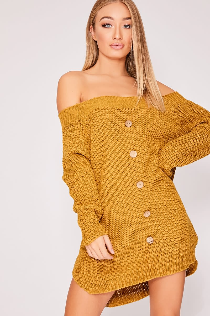 FRANNIE MUSTARD KNITTED BUTTON DETAIL BARDOT DRESS