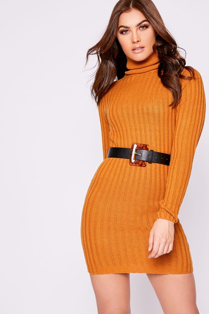 tan ribbed knit roll neck jumper dress