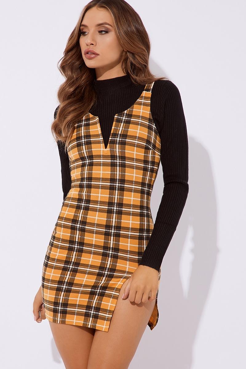 mustard check cross back dress