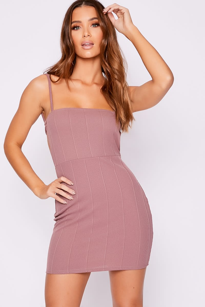 mauve bandage rib backless bodycon dress