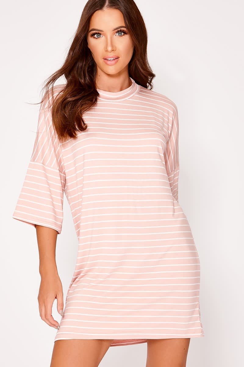 LORI NUDE STRIPE OVERSIZED T SHIRT DRESS