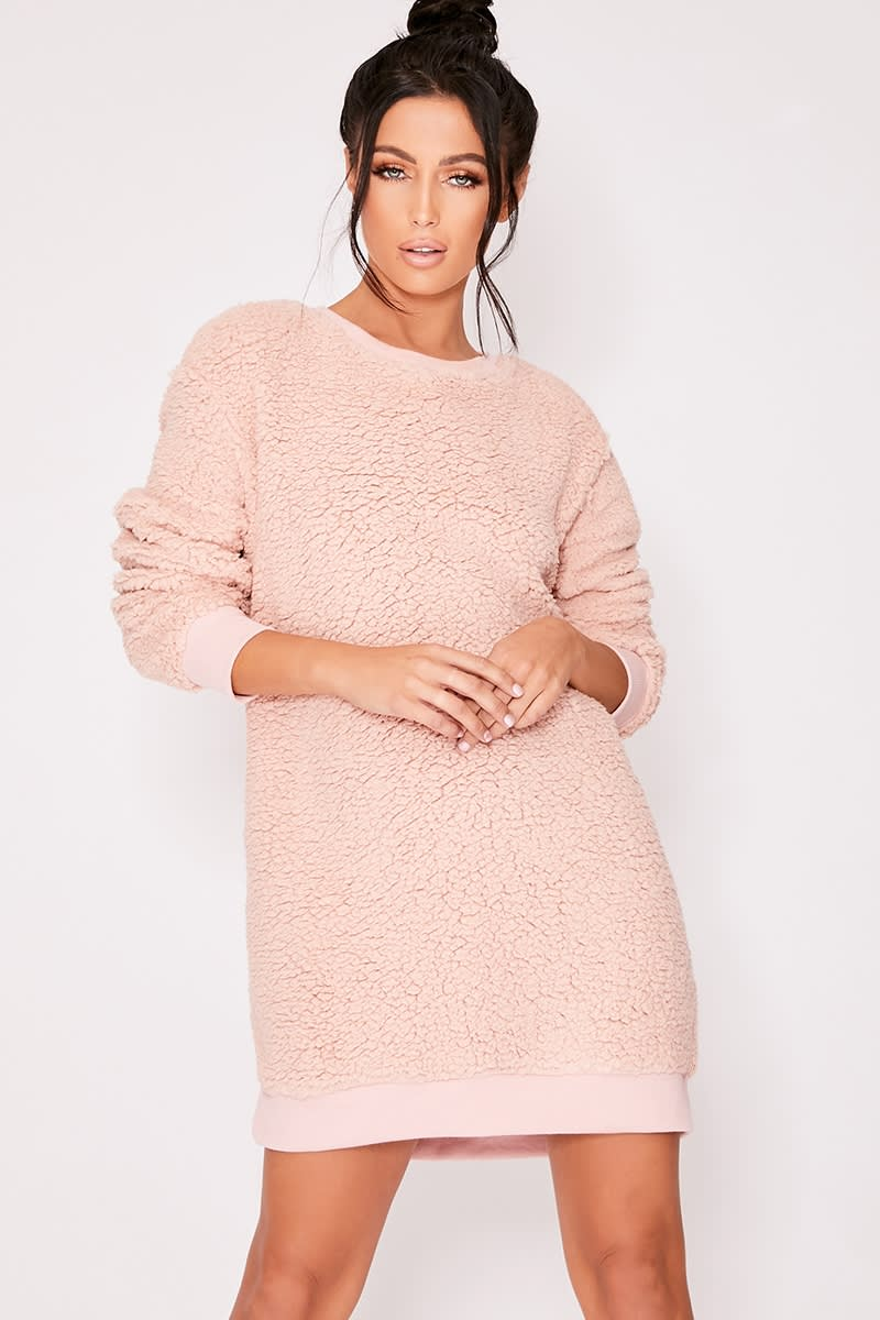 nude teddy fur sweater dress
