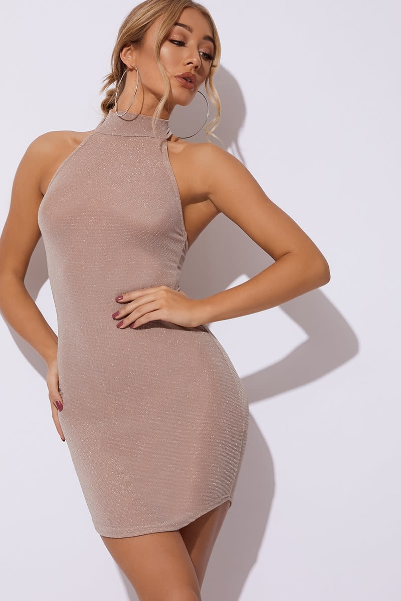 nude glitter high neck dress