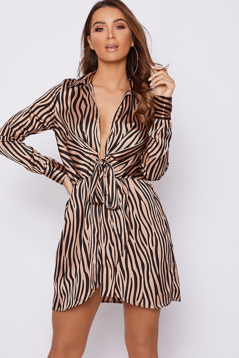 grey nude zebra print tie front satin shirt dress