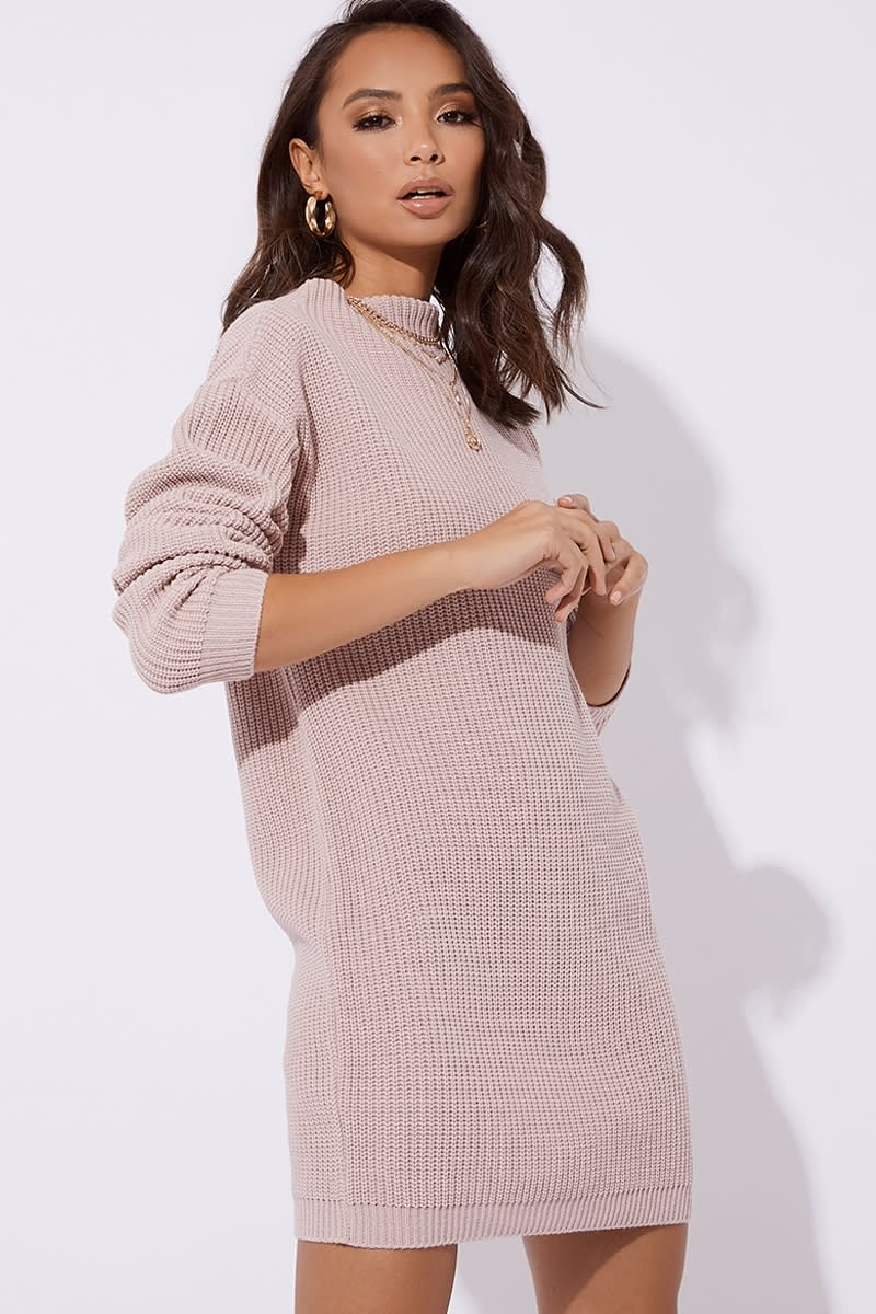 nude high neck knitted dress