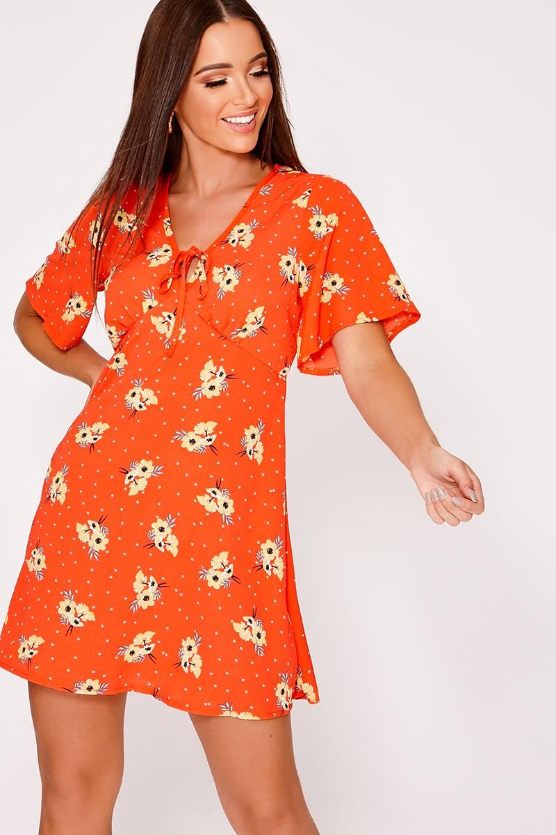 orange floral tie front tea dress