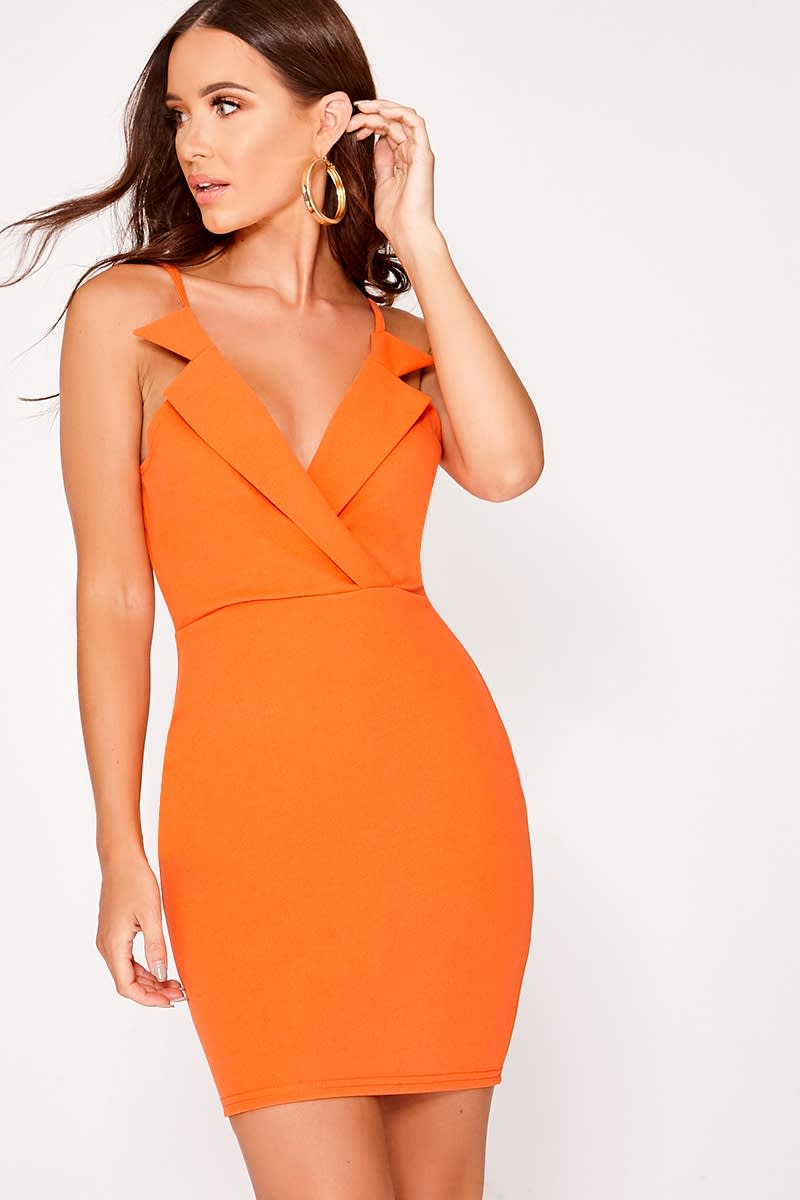BRIELLA ORANGE COLLARED SLEEVELESS DRESS