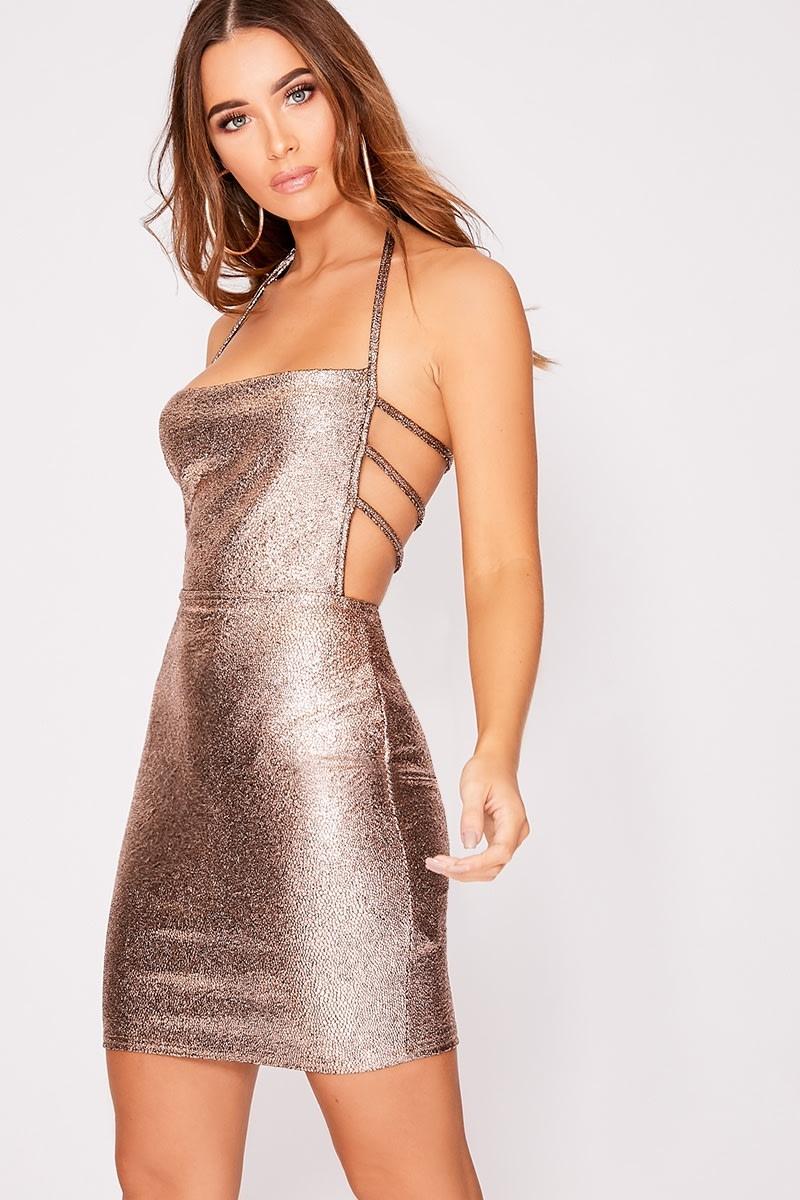 copper metallic strap detail backless dress