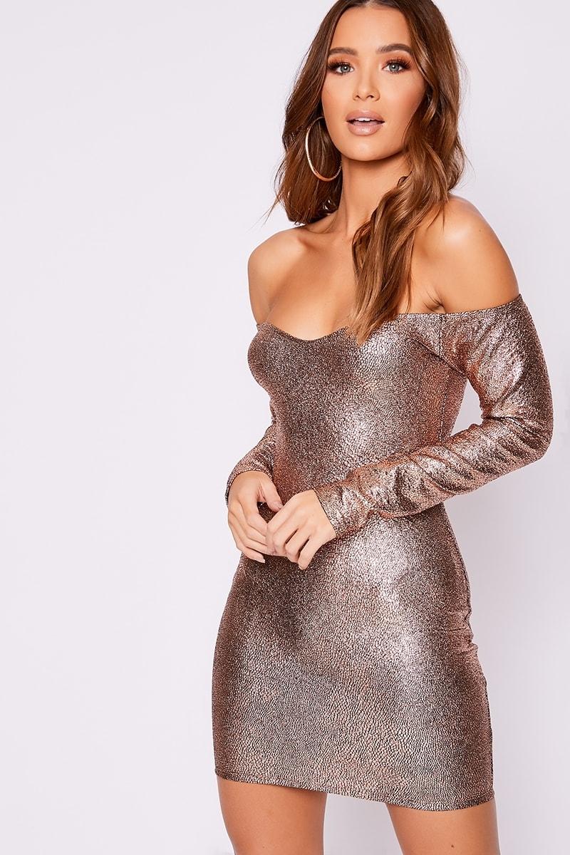 copper metallic bardot bodycon dress