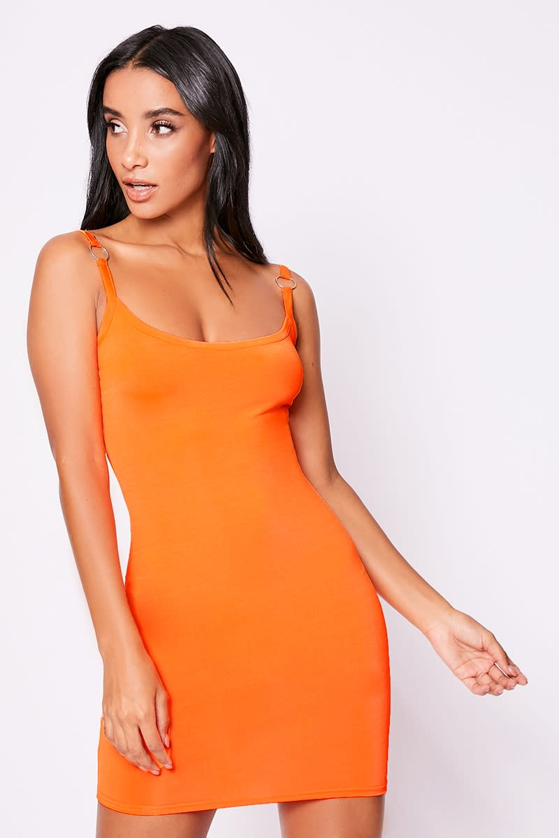 neon orange o ring mini dress