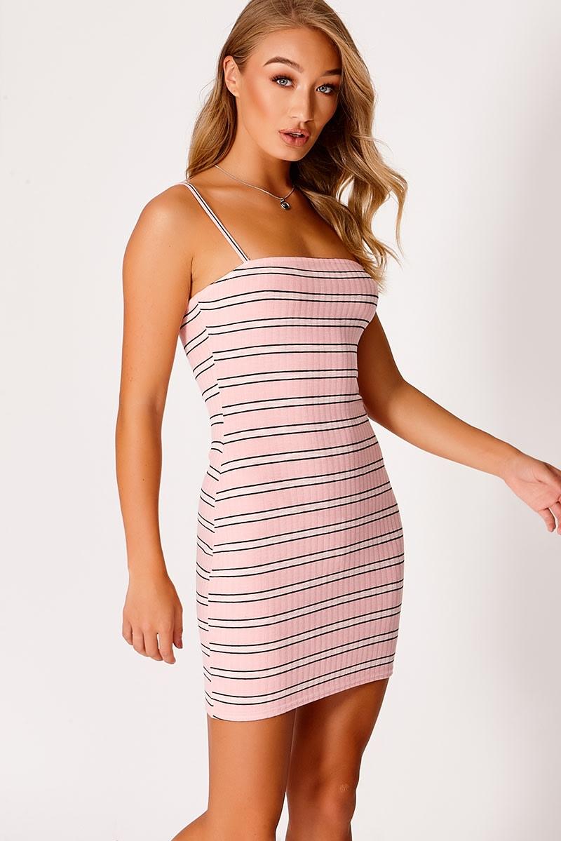 pink rib square neck bodycon dress
