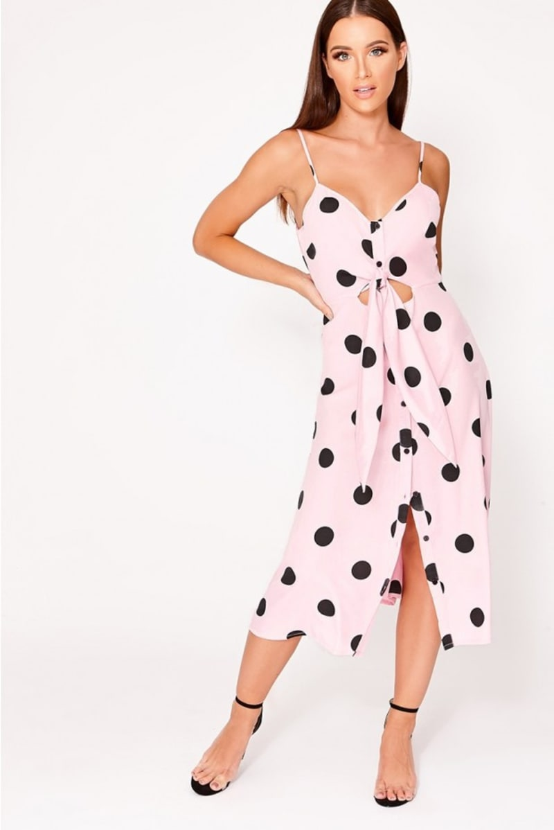 LALA PINK POLKA DOT BUTTON FRONT MIDI DRESS