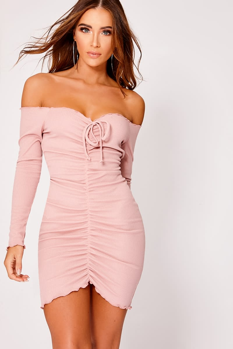 Elissah Pink Ribbed Bardot Ruched Mini Dress | In The Style