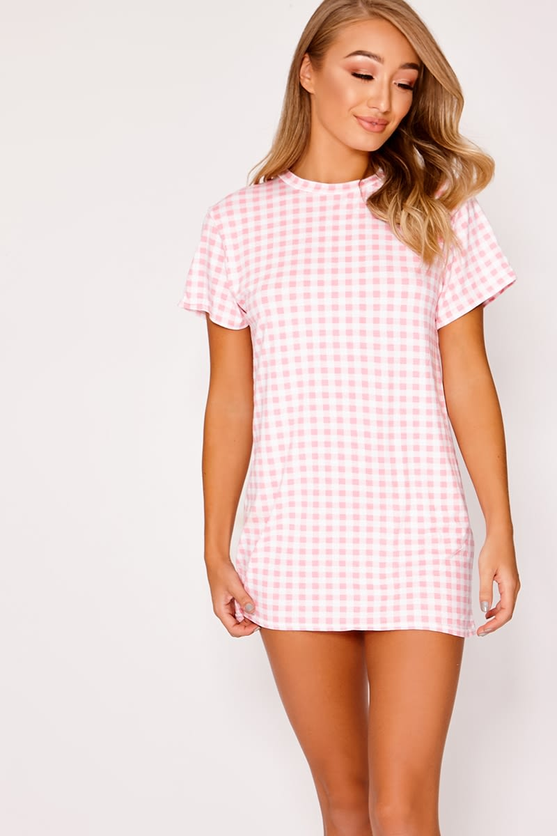pink gingham jersey t shirt dress