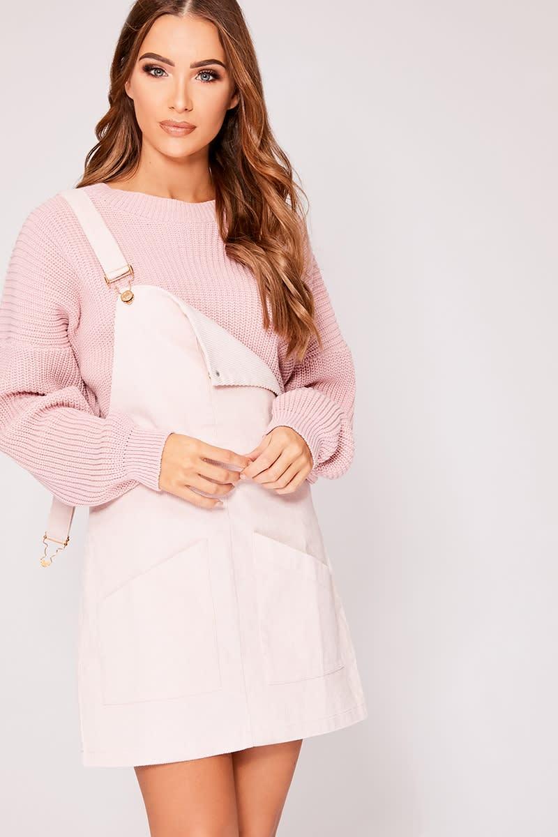 ELOWEN PINK CORD PINAFORE DRESS