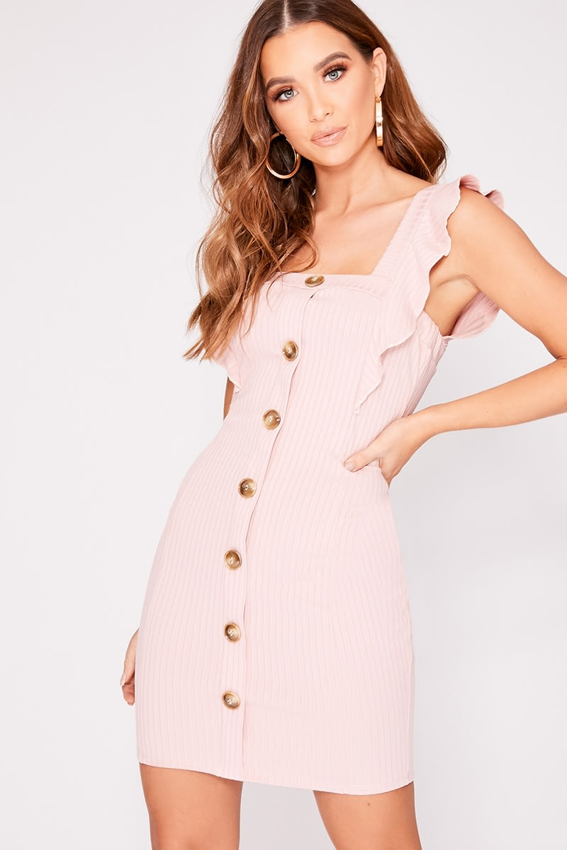 LAYLIEA PINK RIB FRILL BUTTON DOWN DRESS