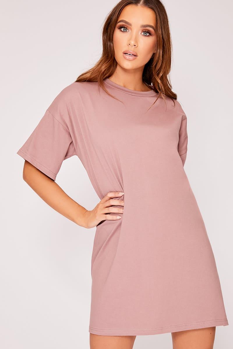 dusky pink basic oversized t shirt