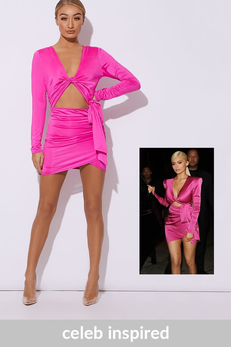 pink twist front cut out ruched dress