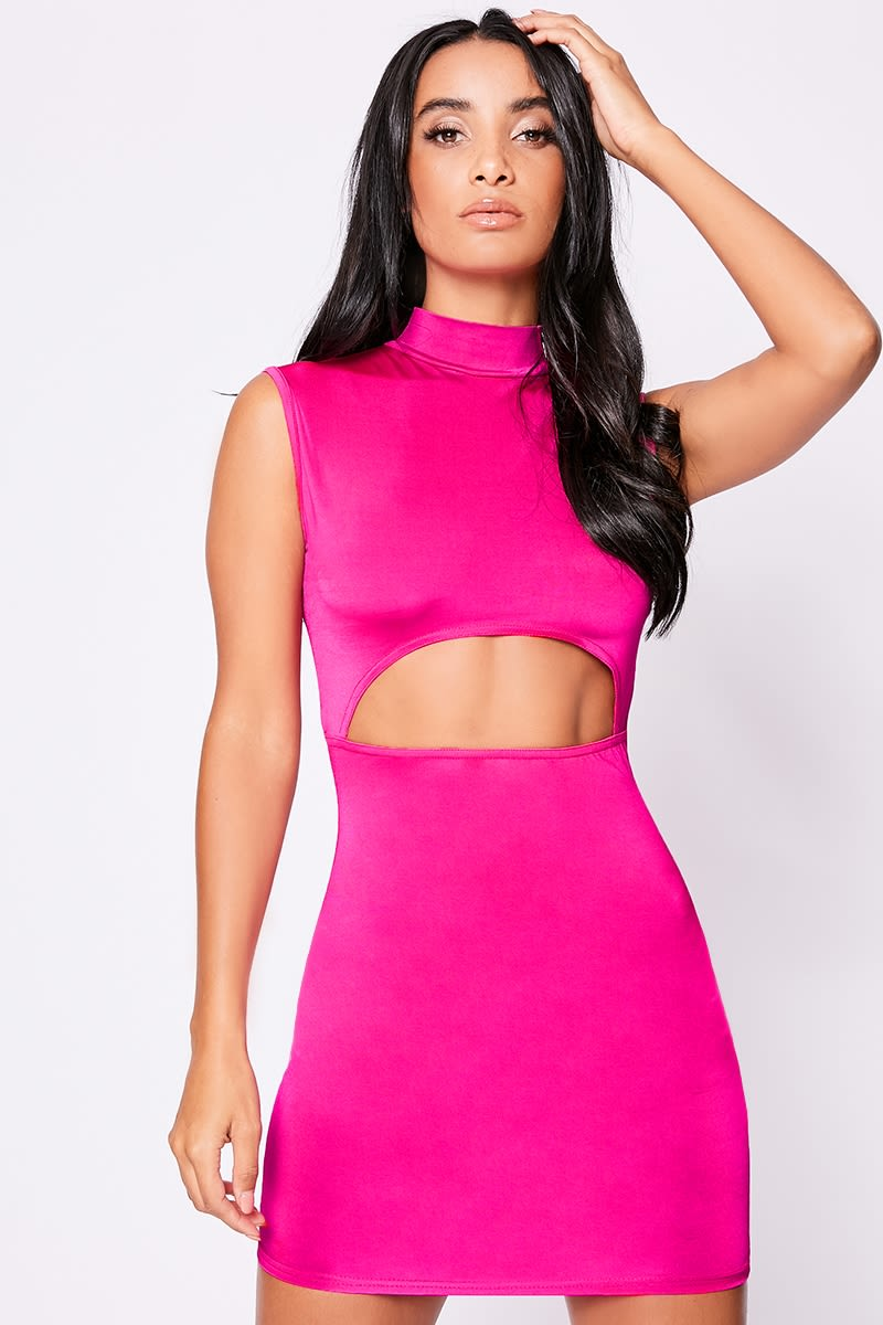 neon pink slinky high neck mini dress